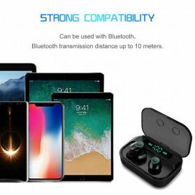 Robotsky TWS Sport Earphone True Wireless Bluetooth 5.0 with Powerbank Charging Dock 3600mAh - M7 - Black - 6