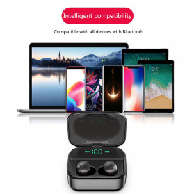 Robotsky TWS Sport Earphone True Wireless Bluetooth 5.0 with Powerbank Charging Dock 3600mAh - X7 - Black - 13