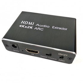 NBY Audio Konverter Separation HDMI ARC to SPDIF FIber Optic 3.5mm AUX 7 / 5.1 Channel - TD-V30 - Black