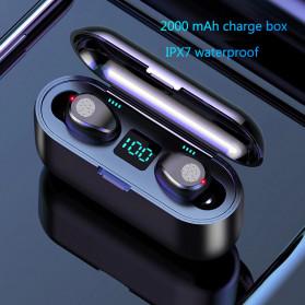 ZEBRA TWS Sport Earphone True Wireless Bluetooth 5.0 LED Touch with Powerbank Charging Dock 2000mAh - F9-2 - Black - 2