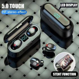 ZEBRA TWS Sport Earphone True Wireless Bluetooth 5.0 LED Touch with Powerbank Charging Dock 2000mAh - F9-2 - Black - 3