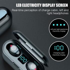ZEBRA TWS Sport Earphone True Wireless Bluetooth 5.0 LED Touch with Powerbank Charging Dock 2000mAh - F9-2 - Black - 4