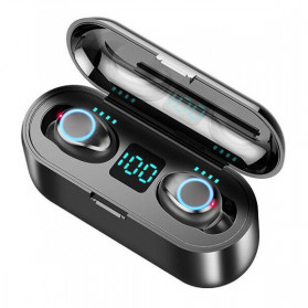 ZEBRA TWS Sport Earphone True Wireless Bluetooth 5.0 LED with Powerbank Charging Dock 2000mAh - F9-2 - Black