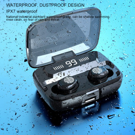 ZEBRA TWS Sport Earphone True Wireless Bluetooth 5.0 LED Touch with Powerbank Charging Dock 2000mAh - F9-3 - Black - 3