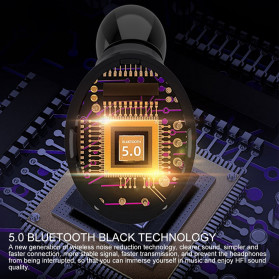 ZEBRA TWS Sport Earphone True Wireless Bluetooth 5.0 LED Touch with Powerbank Charging Dock 2000mAh - F9-3 - Black - 5