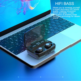ZEBRA TWS Sport Earphone True Wireless Bluetooth 5.0 LED Touch with Powerbank Charging Dock 2000mAh - F9-3 - Black - 8