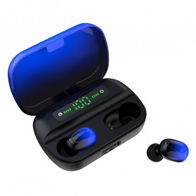 Robotsky TWS Sport Earphone True Wireless Bluetooth 5.0 with Powerbank Charging Dock 3500mAh - S12 - Black/Blue