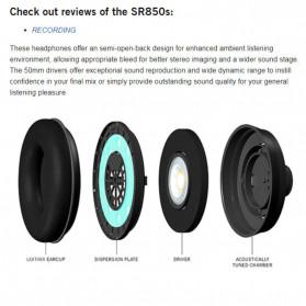 SAMSON Professional Monitoring Headphone Headset Semi Open Back - SR850 - Black - 5