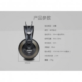 SAMSON Professional Monitoring Headphone Headset Semi Open Back - SR850 - Black - 6