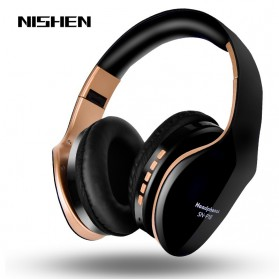 NISHEN Wireless Bluetooth Headphone Foldable with Microphone - SN-P18 - Black