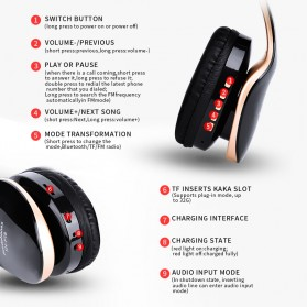 NISHEN Wireless Bluetooth Headphone Foldable with Microphone - SN-P18 - Black - 5