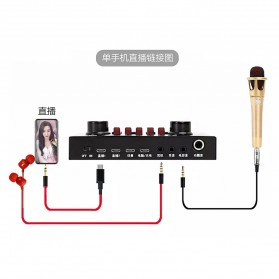 Flanger Audio Bluetooth USB External Soundcard Live Broadcast Smartphone Microphone Headset - V8S - Black - 12