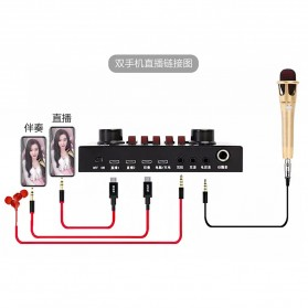Flanger Audio Bluetooth USB External Soundcard Live Broadcast Smartphone Microphone Headset - V8S - Black - 13