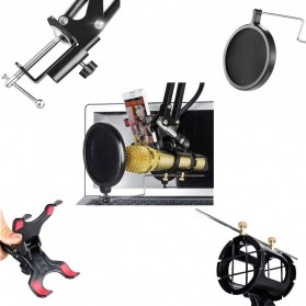 TAKSTAR Condenser Microphone Holder Suspension Boom Scissor Arm Stand with 2 Smartphone Lazypod - NB-35 - Black - 4