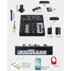 Ammoon Console Karaoke Mixer 2 Channel Input Mic + Bluetooth - N-9 - Black - 4