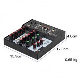 Ammoon Console Karaoke Mixer 2 Channel Input Mic + Bluetooth - N-9 - Black - 5