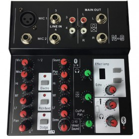 Ammoon Console Karaoke Mixer 2 Channel Input Mic + Bluetooth - N-9 - Black - 6