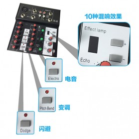 Ammoon Console Karaoke Mixer 2 Channel Input Mic + Bluetooth - N-9 - Black - 7