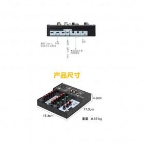 Ammoon Console Karaoke Mixer 2 Channel Input Mic + Bluetooth - N-9 - Black - 9