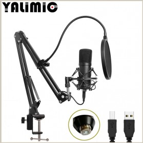 Yalimic Paket Smule Podcast Condenser Microphone + Scissor Arm Stand + Pop Filter - BM-700 - Black