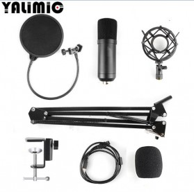 Yalimic Paket Smule Podcast Condenser Microphone + Scissor Arm Stand + Pop Filter - BM-700 - Black - 2