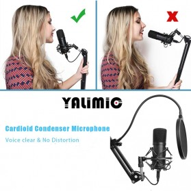 Yalimic Paket Smule Podcast Condenser Microphone + Scissor Arm Stand + Pop Filter - BM-700 - Black - 5