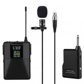KEPHE UHF Wireless Lavalier Lapel Microphone System Podcast Live - MC0001 - Black