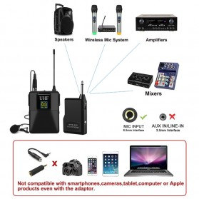 KEPHE UHF Wireless Lavalier Lapel Microphone System Podcast Live - MC0001 - Black - 5