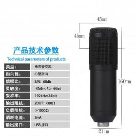 SZKOSTON Microphone Condenser USB for Computer Karaoke Mikrofon - BM-800 - Black - 3