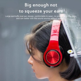 Centechia Wireless Headphone Bluetooth 5.0 Radio TF Function B39 - Red/Black - 4