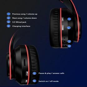 Centechia Wireless Headphone Bluetooth 5.0 Radio TF Function B39 - Red/Black - 6