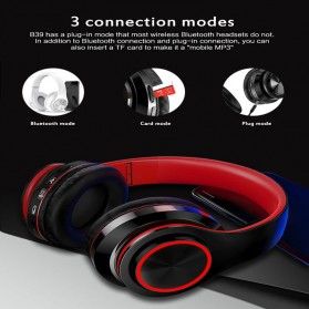 Centechia Wireless Headphone Bluetooth 5.0 Radio TF Function B39 - Red/Black - 8