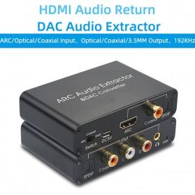 Aksesoris Audio - ALLOYSEED Konverter Audio DAC HDMI ARC Coaxial Toslink ke 3.5mm AUX RCA - AL192 - Black