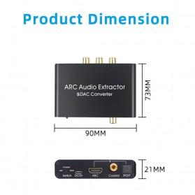 ALLOYSEED Konverter Audio DAC HDMI ARC Coaxial Toslink ke 3.5mm AUX RCA - AL192 - Black - 3