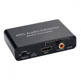 ALLOYSEED Konverter Audio DAC HDMI ARC Coaxial Toslink ke 3.5mm AUX RCA - AL192 - Black - 5