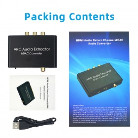 ALLOYSEED Konverter Audio DAC HDMI ARC Coaxial Toslink ke 3.5mm AUX RCA - AL192 - Black - 9