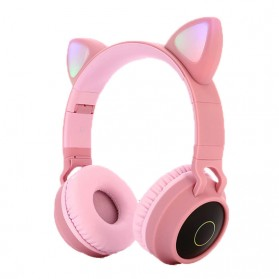 GTIPPOR Cute Cat Ear Wireless Headphone Headset Bluetooth 5.0 RGB LED with Mic - BT028C - Pink