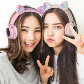 GTIPPOR Cute Cat Ear Wireless Headphone Headset Bluetooth 5.0 RGB LED with Mic - BT028C - Pink - 2