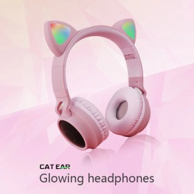 GTIPPOR Cute Cat Ear Wireless Headphone Headset Bluetooth 5.0 RGB LED with Mic - BT028C - Pink - 4