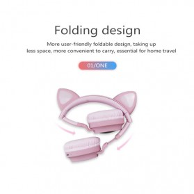GTIPPOR Cute Cat Ear Wireless Headphone Headset Bluetooth 5.0 RGB LED with Mic - BT028C - Pink - 5