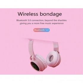 GTIPPOR Cute Cat Ear Wireless Headphone Headset Bluetooth 5.0 RGB LED with Mic - BT028C - Pink - 6