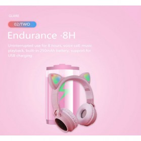 GTIPPOR Cute Cat Ear Wireless Headphone Headset Bluetooth 5.0 RGB LED with Mic - BT028C - Pink - 9