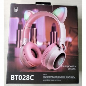 GTIPPOR Cute Cat Ear Wireless Headphone Headset Bluetooth 5.0 RGB LED with Mic - BT028C - Pink - 11