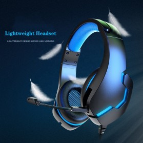 IKOLE Gaming Headset Headphone LED Light with Microphone - J10 - Black/Blue - 2