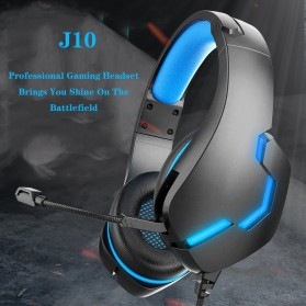 IKOLE Gaming Headset Headphone LED Light with Microphone - J10 - Black/Blue - 3