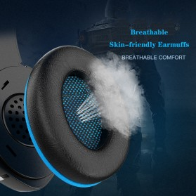 IKOLE Gaming Headset Headphone LED Light with Microphone - J10 - Black/Blue - 4