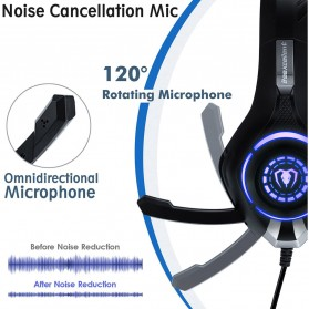 Beexcellent Gaming Headphone Headset LED with Mic - GM-1 - Blue - 4