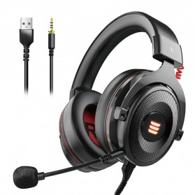 EKSA Gaming Headphone Headset LED Virtual 7.1 with Mic - E900 - Black