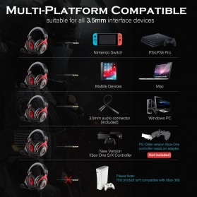 EKSA Gaming Headphone Headset LED Virtual 7.1 with Mic - E900 - Black - 4