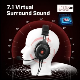 EKSA Gaming Headphone Headset LED Virtual 7.1 with Mic - E900 - Black - 5